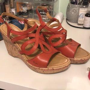 Cork heel wedges